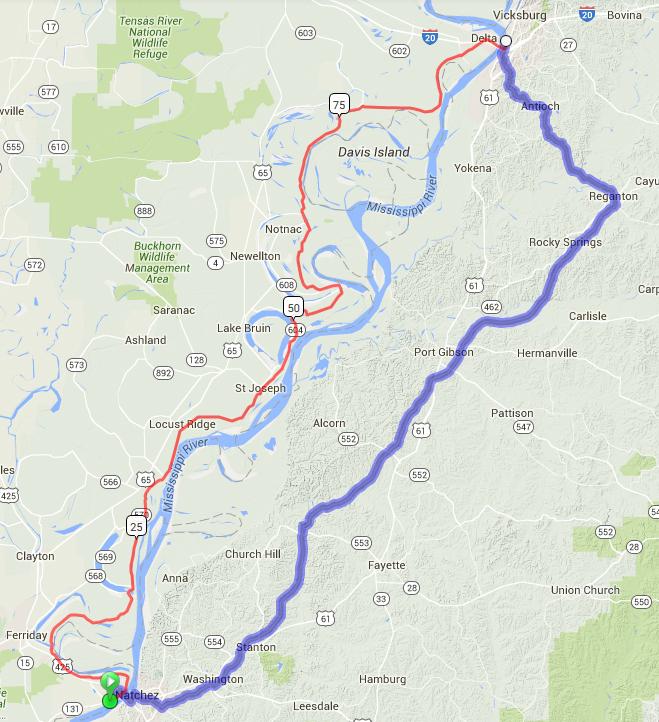 Current Route Natchez-Vicksburg