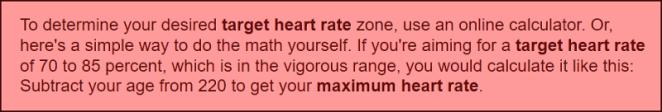 Heart rate formula