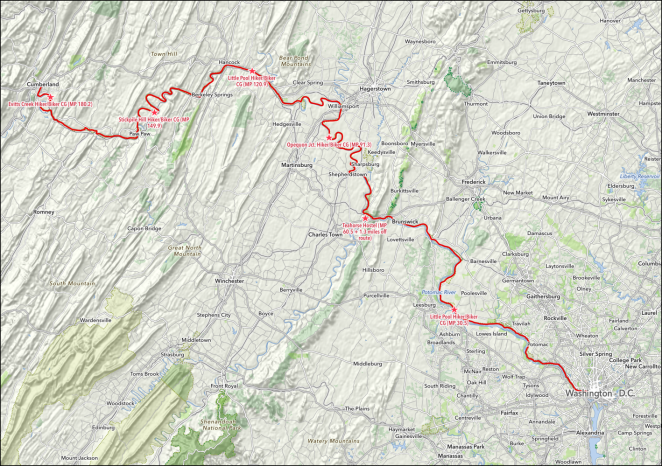 The C&O C Towpath – The Itinerary – b2bbiketrip.com – A 2019 C O Towpath Map on
